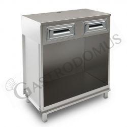 Banco bar per macchina caffè con top in acciaio inox - L 1000 mm x P 550 mm x H 1140 mm
