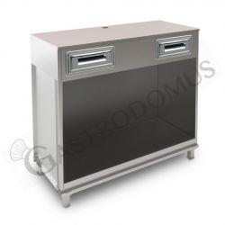 Banco bar per macchina caffè con top grezzo - L 1250 mm x P 550 mm x H 1130 mm