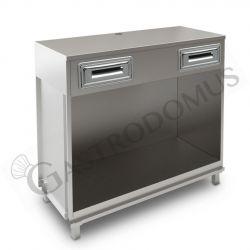 Banco bar per macchina caffè con top in acciaio inox - L 1250 mm x P 550 mm x H 1140 mm