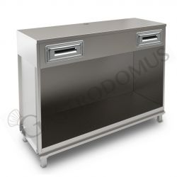 Banco bar per macchina caffè con top in acciaio inox - L 1500 mm x P 550 mm x H 1140 mm