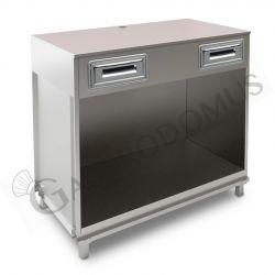 Bancone bar per macchina caffè con top grezzo - L 1250 mm x P 670 mm x H 1130 mm