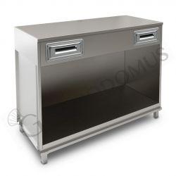 Bancone bar per macchina caffè con top in acciaio inox - L 1500 mm x P 670 mm x H 1140 mm