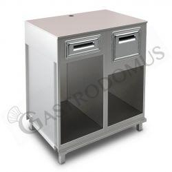 Bancone bar per macchina caffè con top grezzo, cassetto di servizio e tramoggia battifiltro - L 1000 mm x P 670 mm x H 1130 mm
