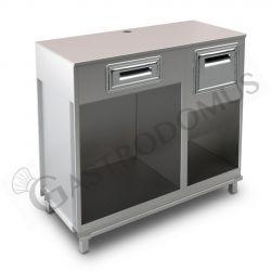 Bancone bar per macchina caffè con top grezzo, cassetto di servizio e tramoggia battifiltro - L 1250 mm x P 550 mm x H 1130 mm