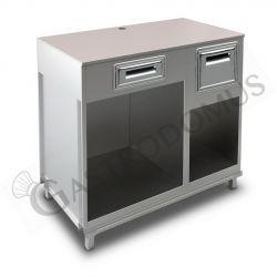 Bancone bar per macchina caffè con top grezzo, cassetto di servizio e tramoggia battifiltro - L 1250 mm x P 670 mm x H 1130 mm