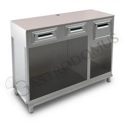 Bancone bar per macchina caffè con top grezzo, 2 cassetti di servizio e tramoggia battifiltro - L 1500 mm x P 550 mm x H 1130 mm