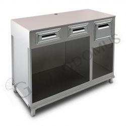 Bancone bar per macchina caffè con top grezzo, 2 cassetti di servizio e tramoggia battifiltro - L 1500 mm x P 670 mm x H 1130 mm