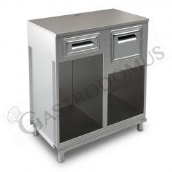Bancone bar per macchina caffè con top in inox, cassetto di servizio e tramoggia battifiltro - L 1000 mm x P 550 mm x H 1140 mm