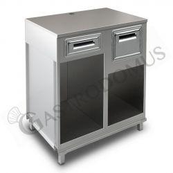 Bancone bar per macchina caffè con top in inox, cassetto di servizio e tramoggia battifiltro - L 1000 mm x P 670 mm x H 1140 mm