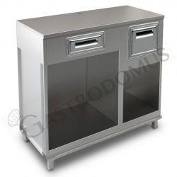 Bancone bar per macchina caffè con top in inox, cassetto di servizio e tramoggia battifiltro - L 1250 mm x P 550 mm x H 1140 mm