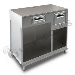 Bancone bar per macchina caffè con top in inox, cassetto di servizio e tramoggia battifiltro - L 1250 mm x P 670 mm x H 1140 mm