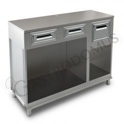 Bancone bar per macchina caffè top in inox, 2 cassetti di servizio e tramoggia battifiltro - L 1500 mm x P 550 mm x H 1140 mm