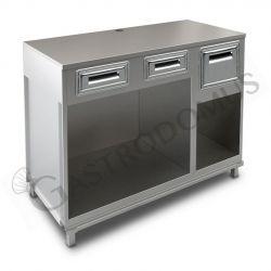 Bancone bar per macchina caffè top in inox, 2 cassetti di servizio e tramoggia battifiltro - L 1500 mm x P 670 mm x H 1140 mm