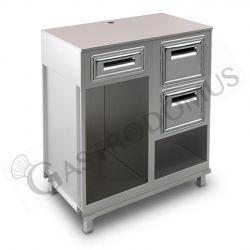 Bancone con top grezzo, cassetto di servizio e tramoggia battifiltro con riserva - L 1000 mm x P 550 mm x H 1130 mm