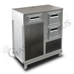 Bancone con top inox, cassetto di servizio e tramoggia battifiltro con riserva - L 1000 mm x P 670 mm x H 1140 mm