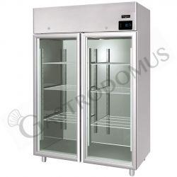Armadio refrigerato ventilato classe A capacità 1400 LT e temperatura -2°C/+10°C - 2 porte vetro