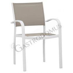 Sedia Enrica con struttura in alluminio verniciato, seduta e schienale in textylene