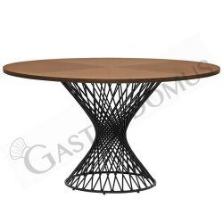 Tavolo rotondo da esterno in metallo verniciato e piano in MDF impiallacciato con diametro 137 cm