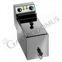 Friggitrice elettrica da banco con rubinetto - 1 vasca - capacità 8 LT - 3000 W - Monofase