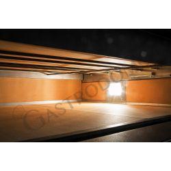 Dettaglio interno camera forno elettrico per 4 pizze di diametro 35 cm con 1 camera a controllo meccanico